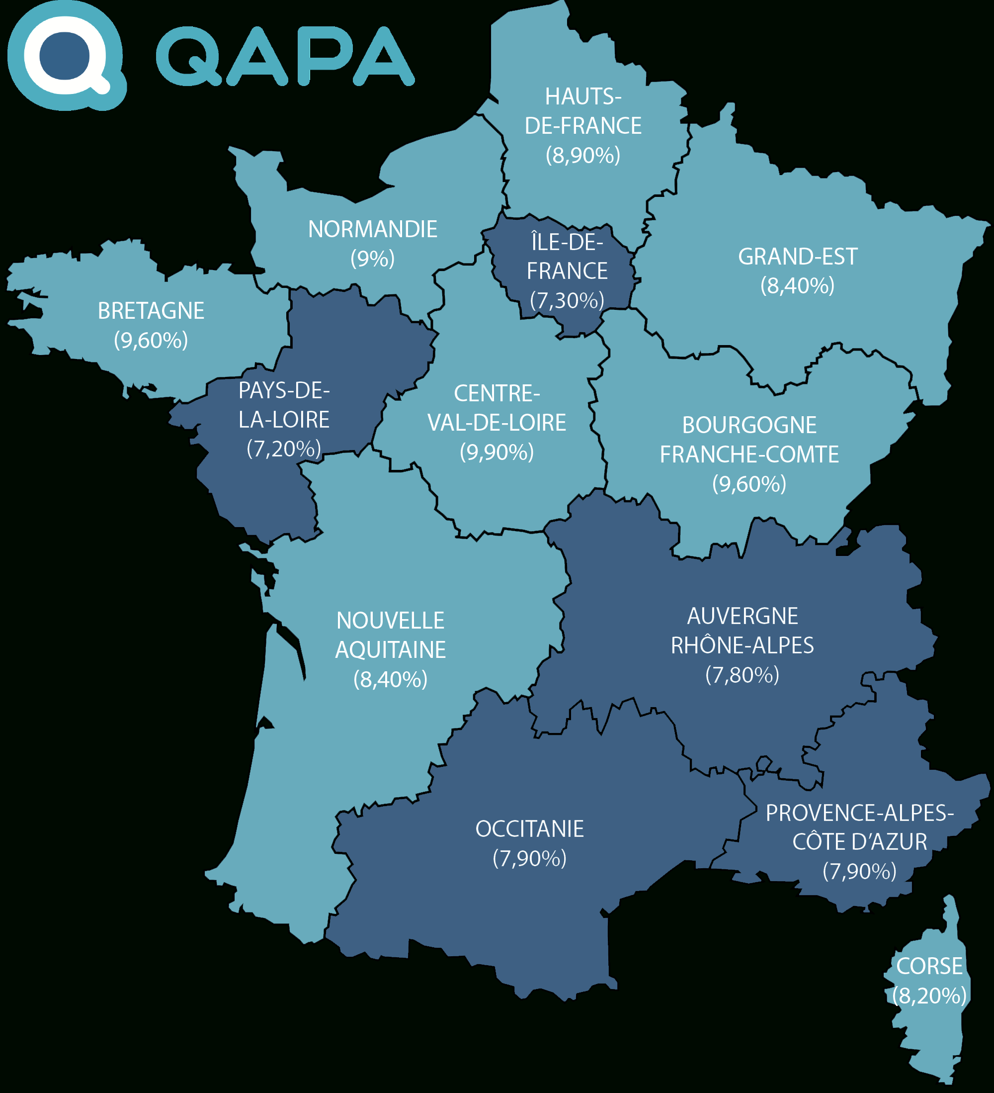 Taux De Chômage Par Région concernant Nouvelle Carte Des Régions De France