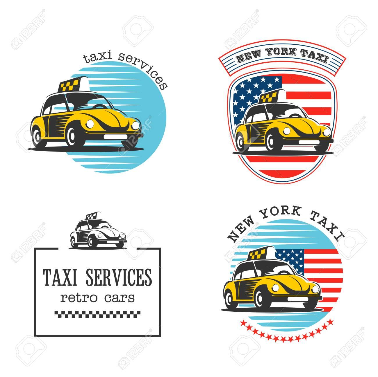 Taxi À New York. Service De Taxi. Jeu De Logos Vectoriels Voiture De Taxi  Jaune Sur Un Fond De Drapeau Américain. destiné Jeux De Voiture Jaune