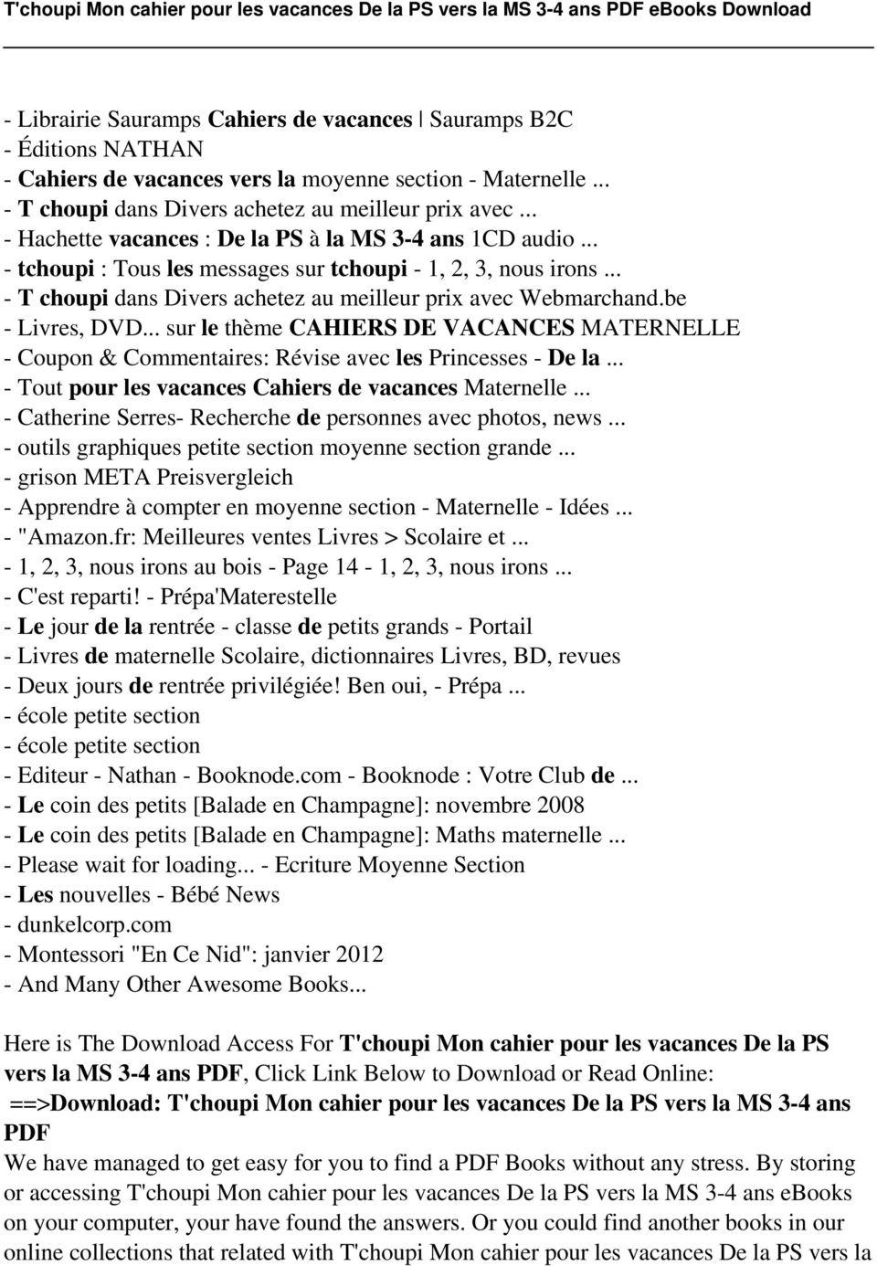 T'choupi Mon Cahier Pour Les Vacances De La Ps Vers La Ms 3 intérieur Cahier De Vacances Maternelle Pdf