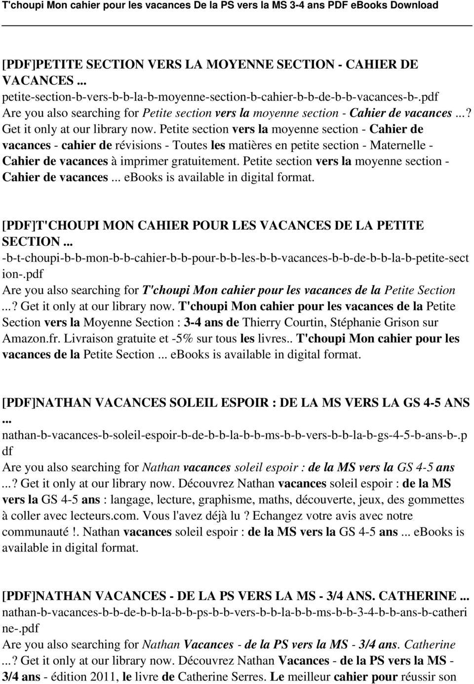 T'choupi Mon Cahier Pour Les Vacances De La Ps Vers La Ms 3 serapportantà Cahier De Vacances Moyenne Section A Imprimer