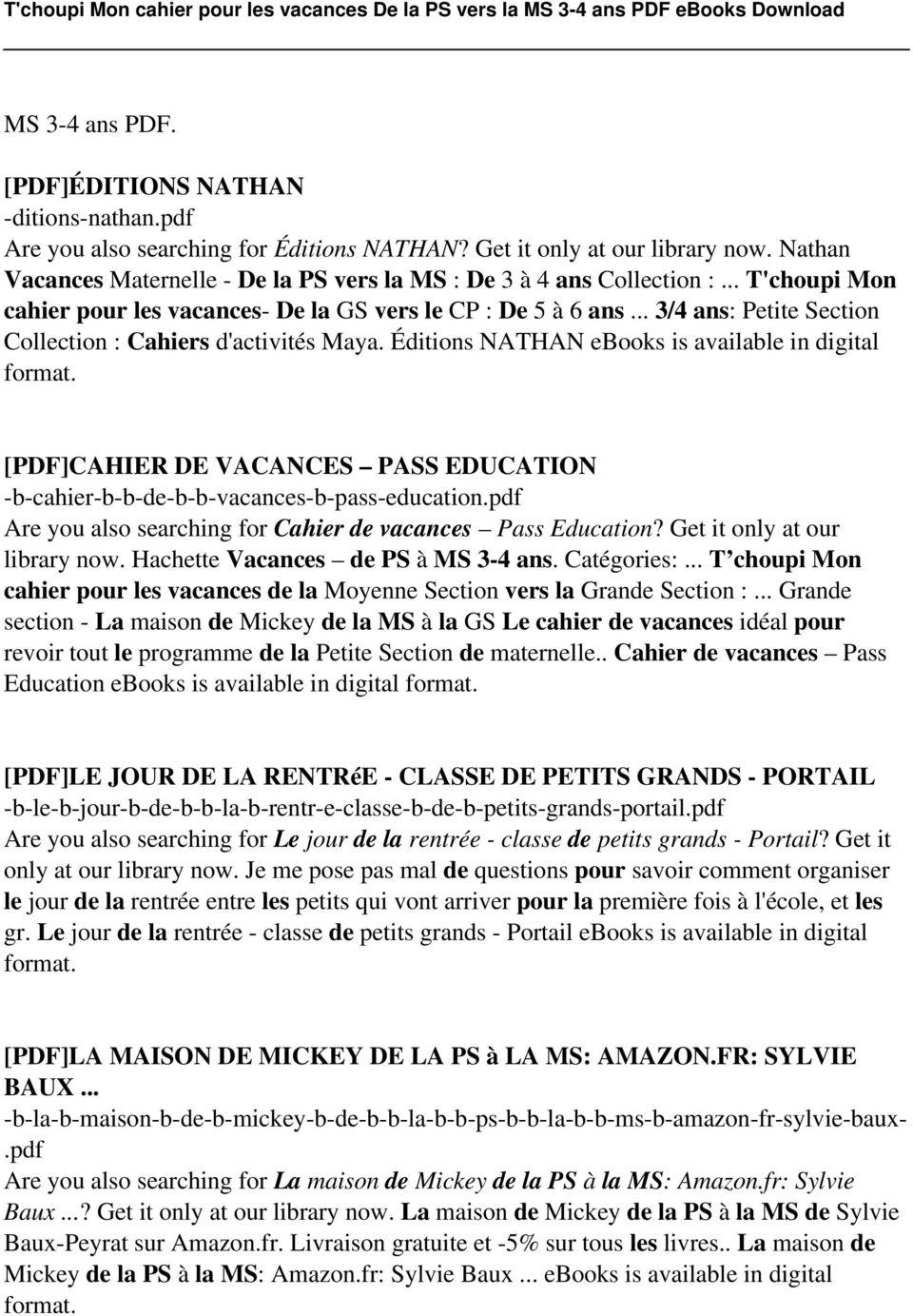 T'choupi Mon Cahier Pour Les Vacances De La Ps Vers La Ms 3 tout Cahier De Vacances Maternelle Pdf