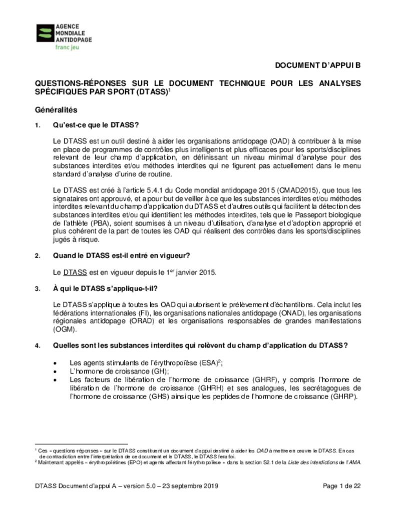 Tdssa Supporting Document B: Frequently Asked Questions concernant Jeu De Question Réponse