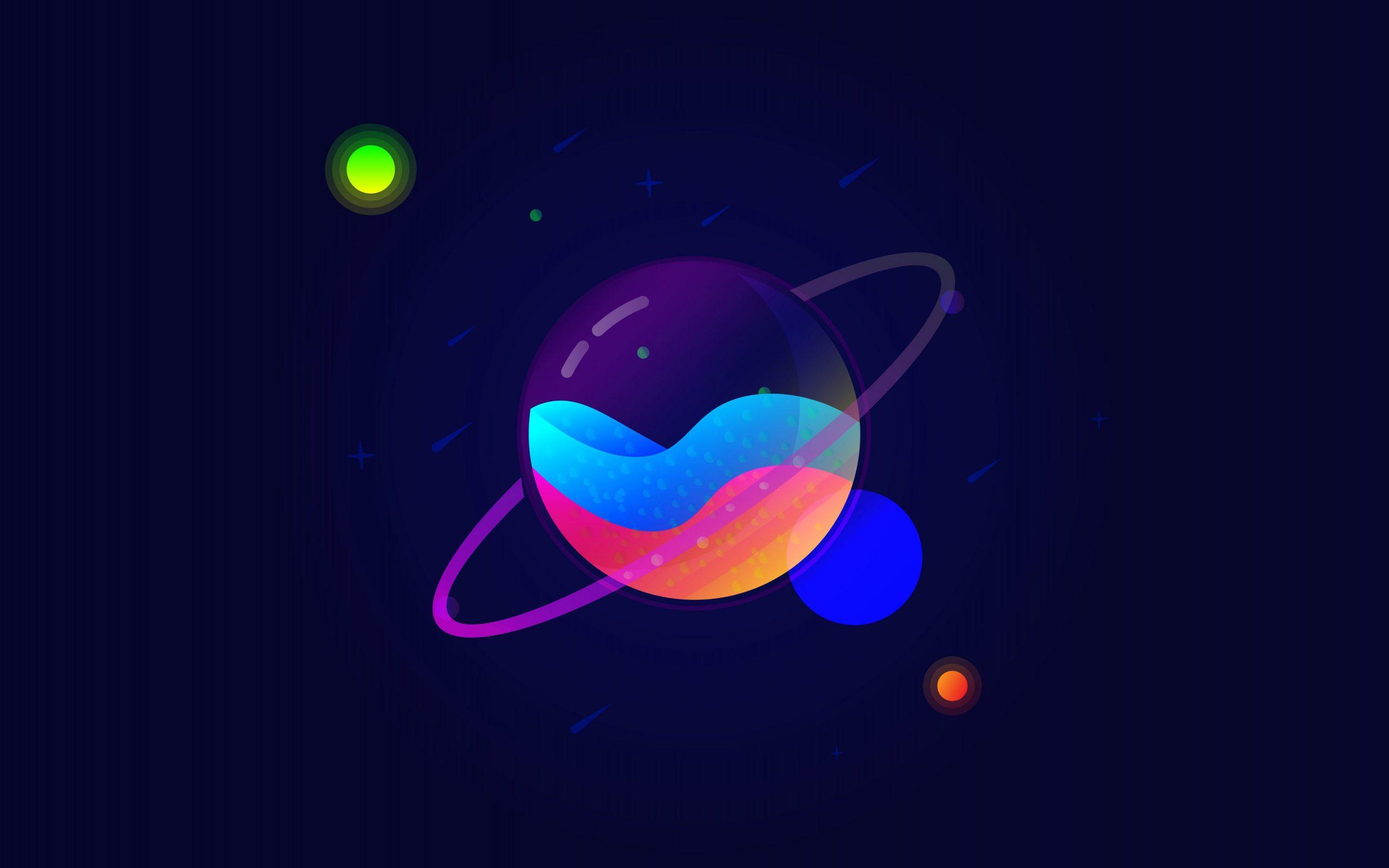 Télécharger Fonds D'écran Saturne, 4K, Dessin Animé De La pour Saturne Dessin
