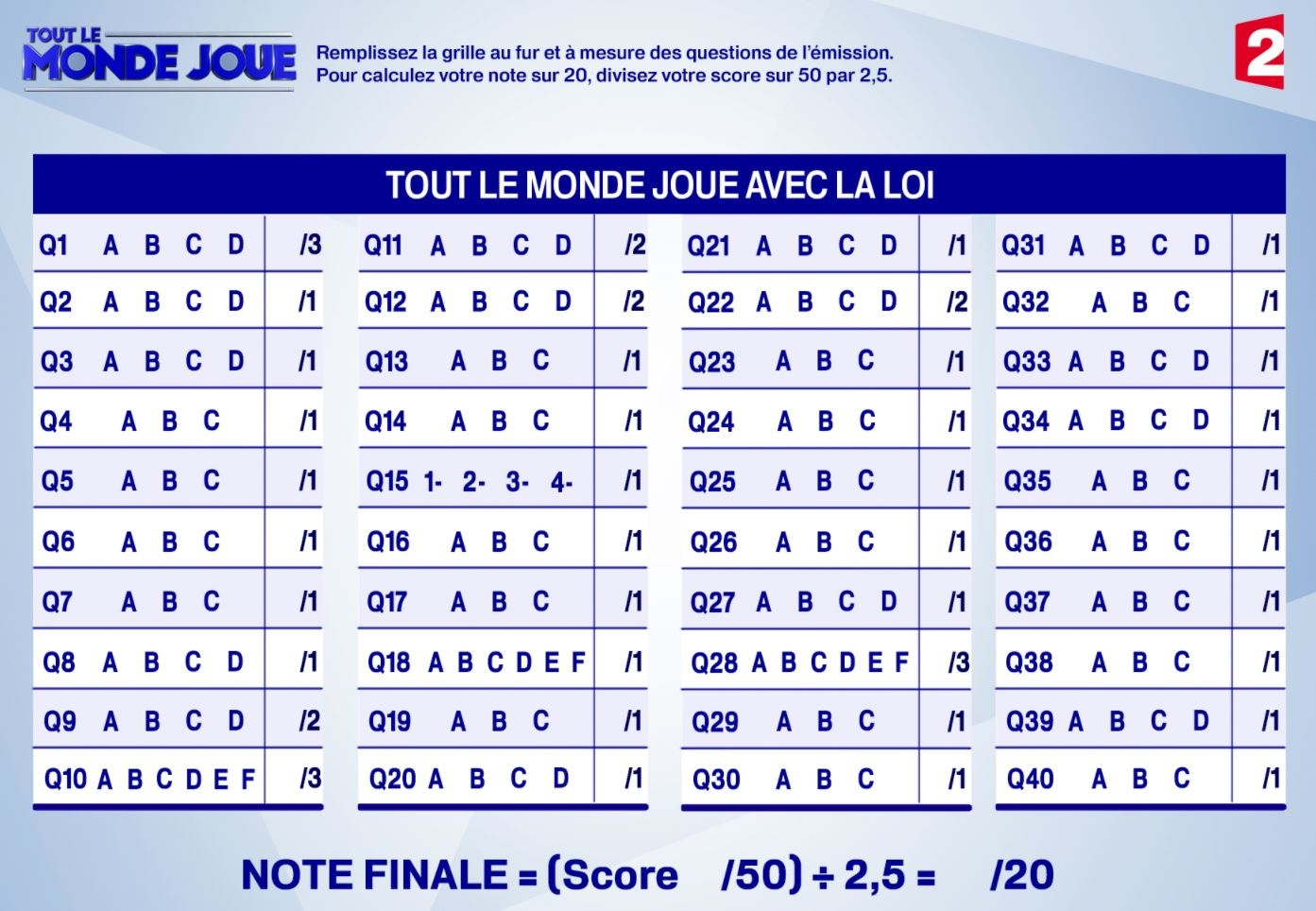 """Téléchargez La Grille Du Jeu """"tout Le Monde Joue Avec La Loi encequiconcerne Jeux Avec Des Questions"""
