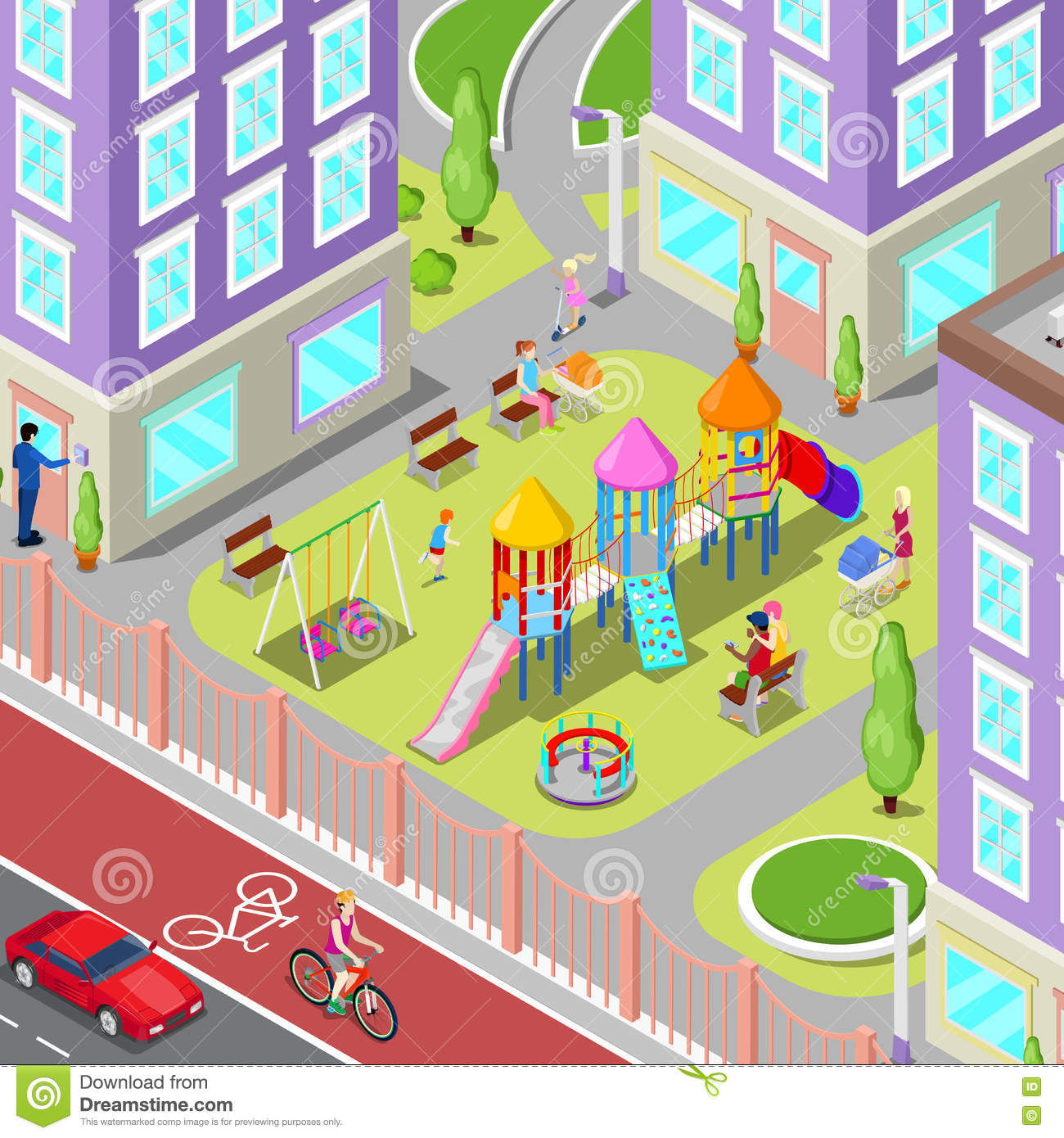 Terrain De Jeu Isométrique D'enfants Dans Le Dortoir Avec intérieur Jeux Pc Enfant