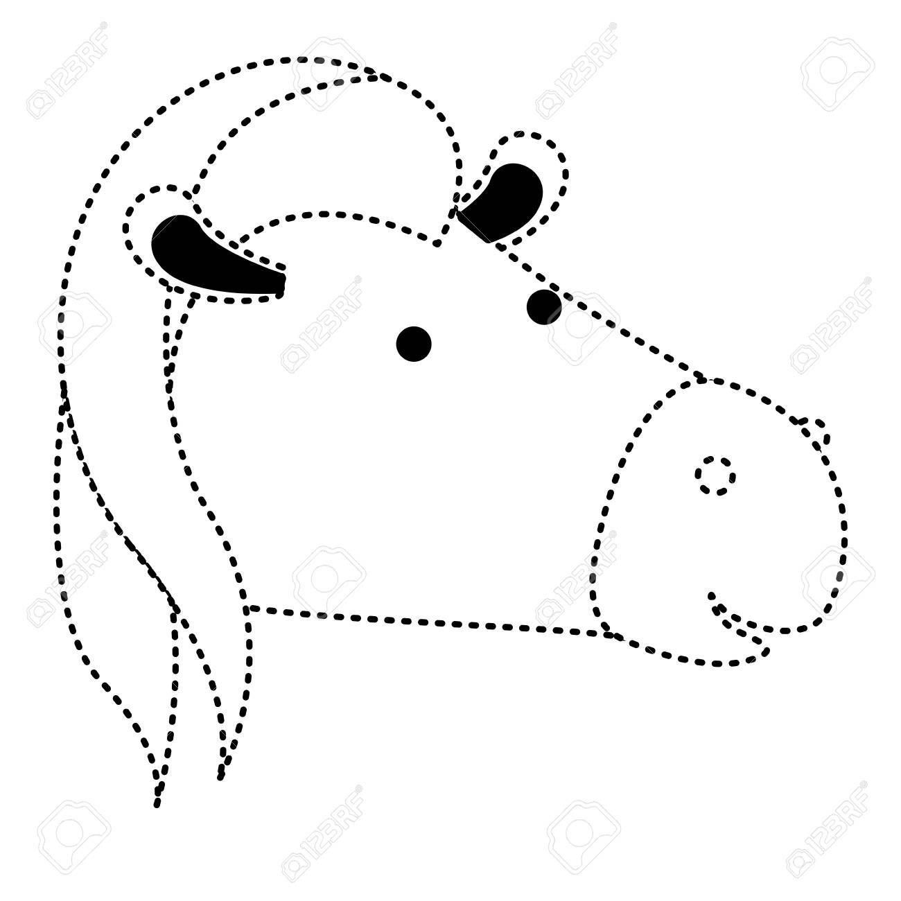 Tête De Dessin Animé De Cheval En Illustration Vectorielle De Silhouette En  Pointillé Noir concernant Dessin En Pointillé