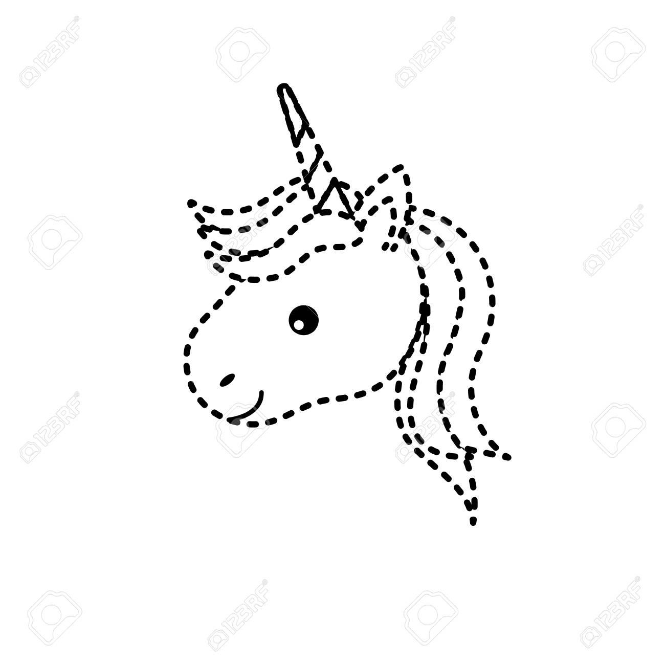 Tête De Licorne En Forme De Pointillé Avec Corne Et Coiffure encequiconcerne Dessin En Pointillé