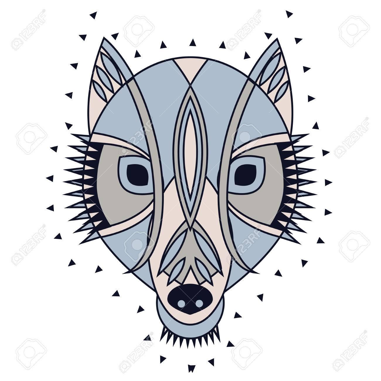 Tête De Loup Tribal Ornement. Vector Illustration De Caractère De Mascotte  Pour Le Uage Imprimer Avec Une Décoration Tribale Primitive, Le Masque intérieur Masque De Loup À Imprimer