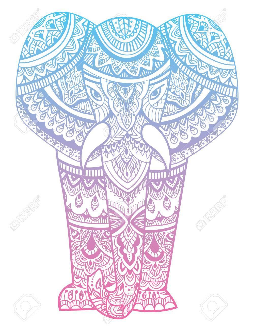 Tête Stylisée D'un Éléphant. Portrait Ornemental D'un Éléphant. Dessin De  Couleur À La Main. Indien. Mandala. tout Dessiner Un Mandala