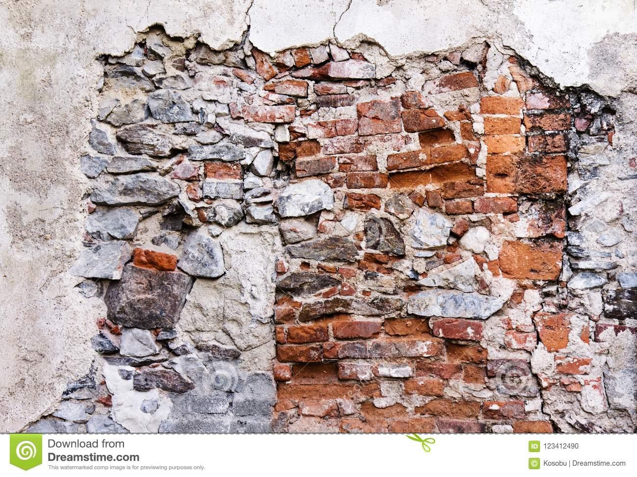 Texture Of Broken Red Brick Wall Stock Photo - Image Of dedans Casse Brick