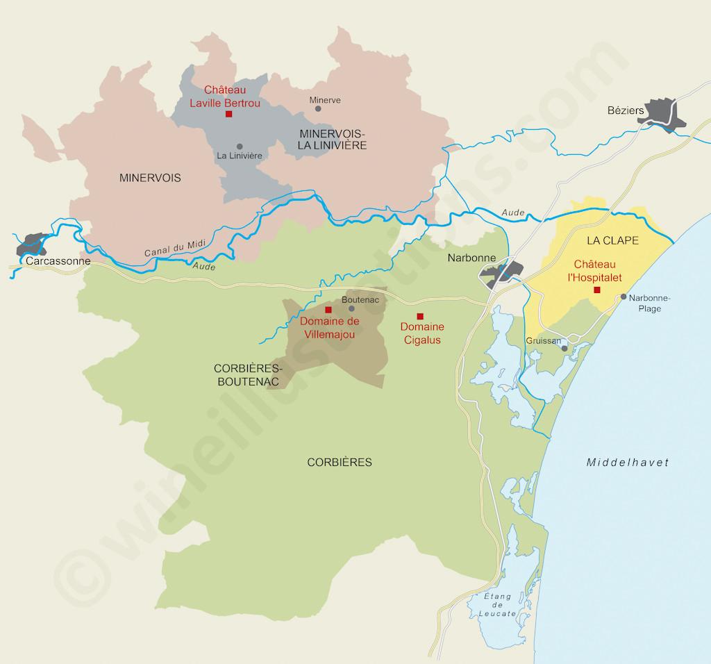 The Languedoc Estates Of Gérard Bertrand By destiné Mappe De France
