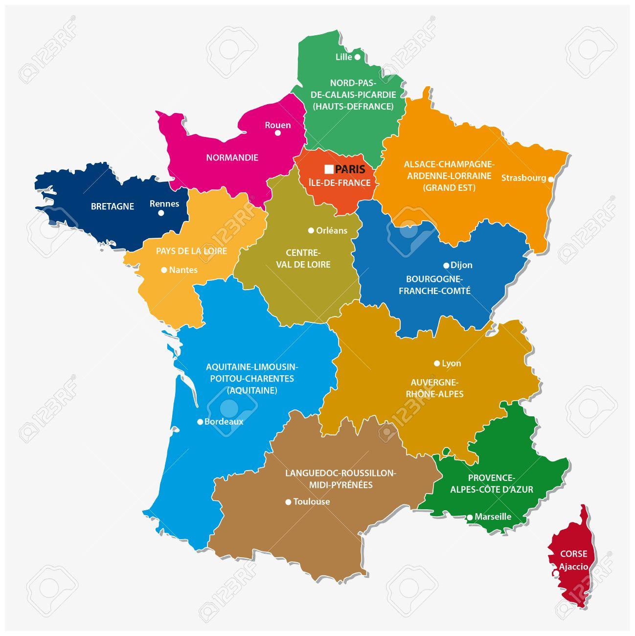 The New Regions Of France Since Map à Carte Des Nouvelles Régions Françaises