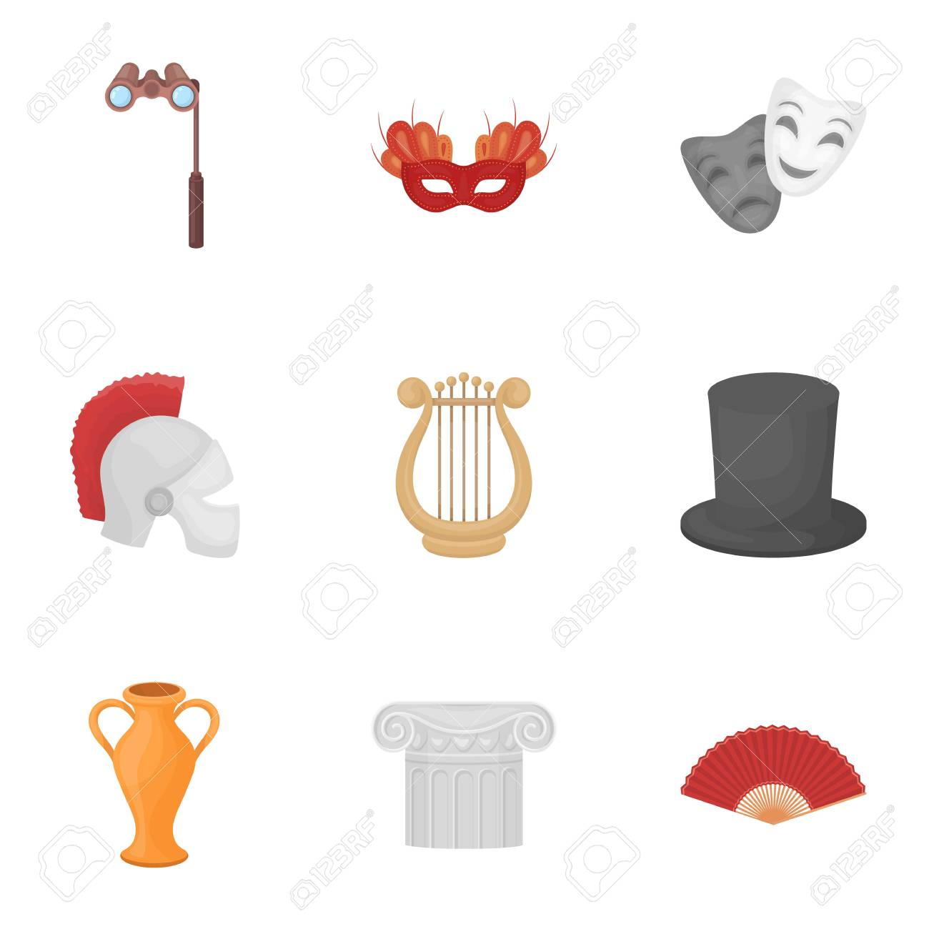 Theater Set Icons In Cartoon Style. Big Collection Of Theater.. dedans Dessin Theatre
