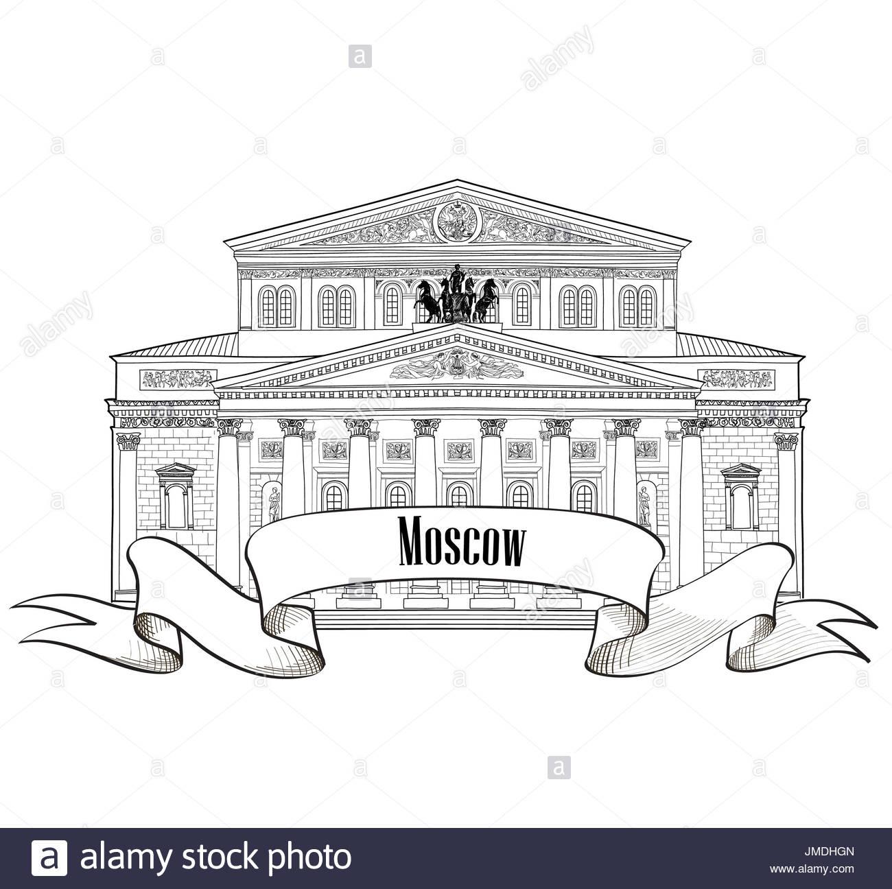 Théâtre Bolchoï Isolé Sur Fond Blanc. Moscow City Label à Dessin Theatre