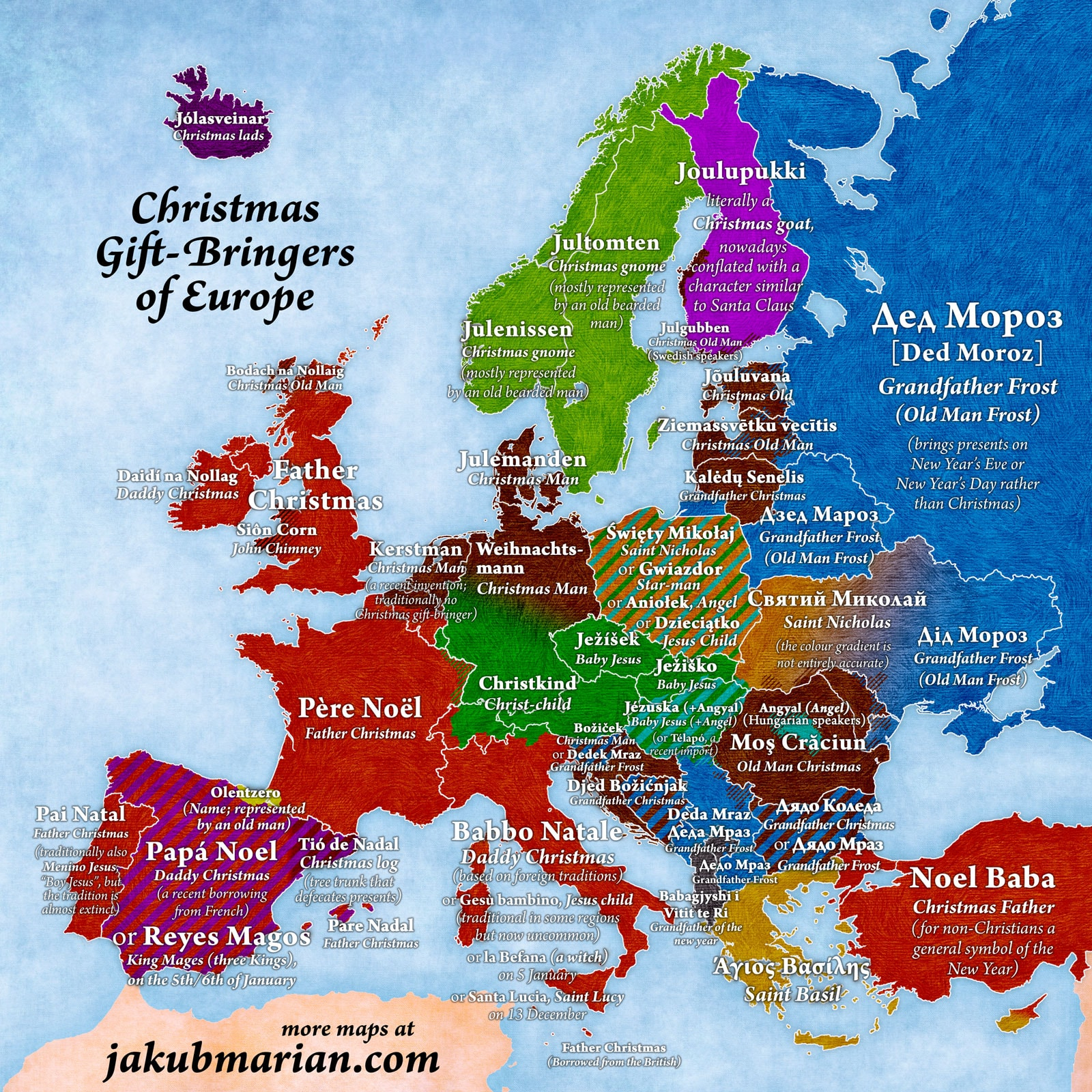 This Map Shows What Santa Claus Is Called Across Europe avec Carte Europe 2017