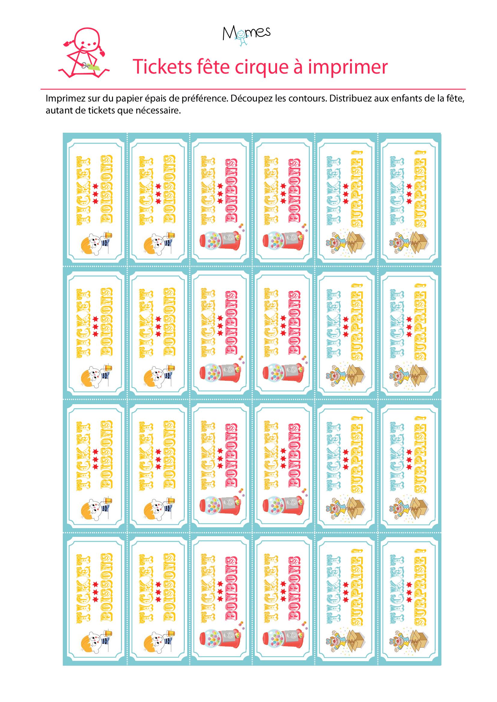 Ticket À Imprimer Pour Une Fête Cirque - Momes encequiconcerne Billet A Imprimer