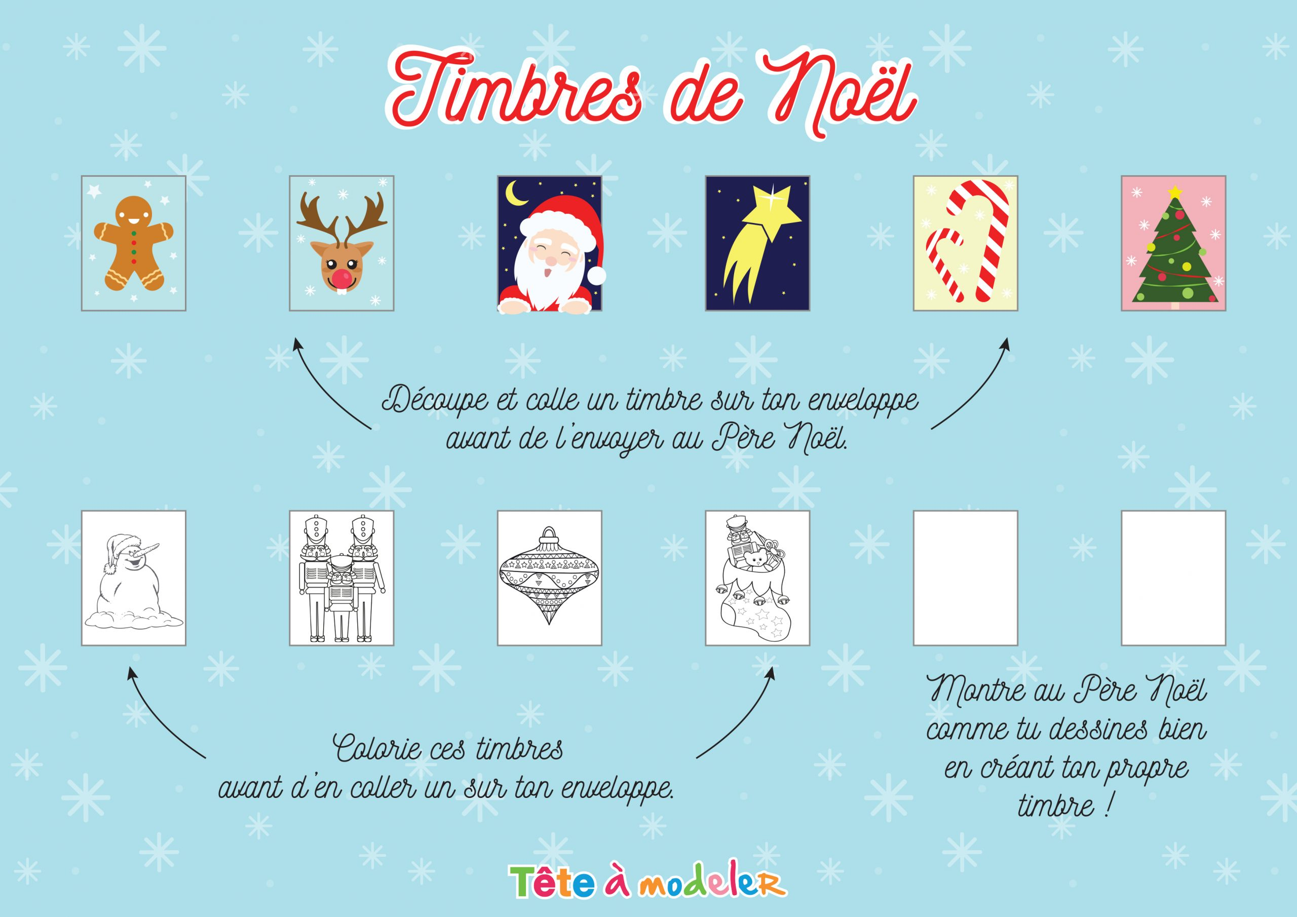 Timbre Noël : Les Beaux Timbres À Imprimer De Tête À Modeler serapportantà Pere Noel A Imprimer Et A Decouper