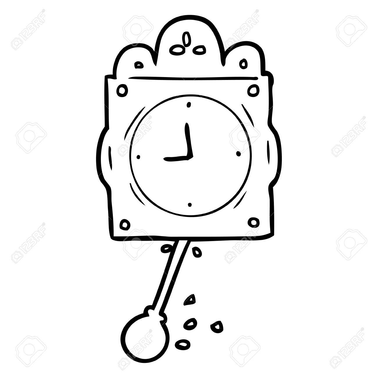 Tiré Par La Main Dessin De Ligne D & # 39 ; Une Horloge À Bascule Avec  Pendule encequiconcerne Dessin D Horloge