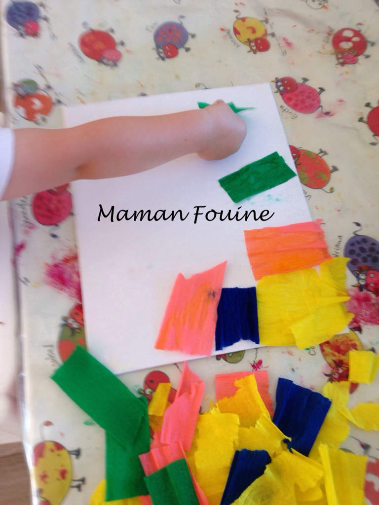 Toile Au Papier Crépon Et Eau - Maman Fouine intérieur Activité Manuelle En Papier