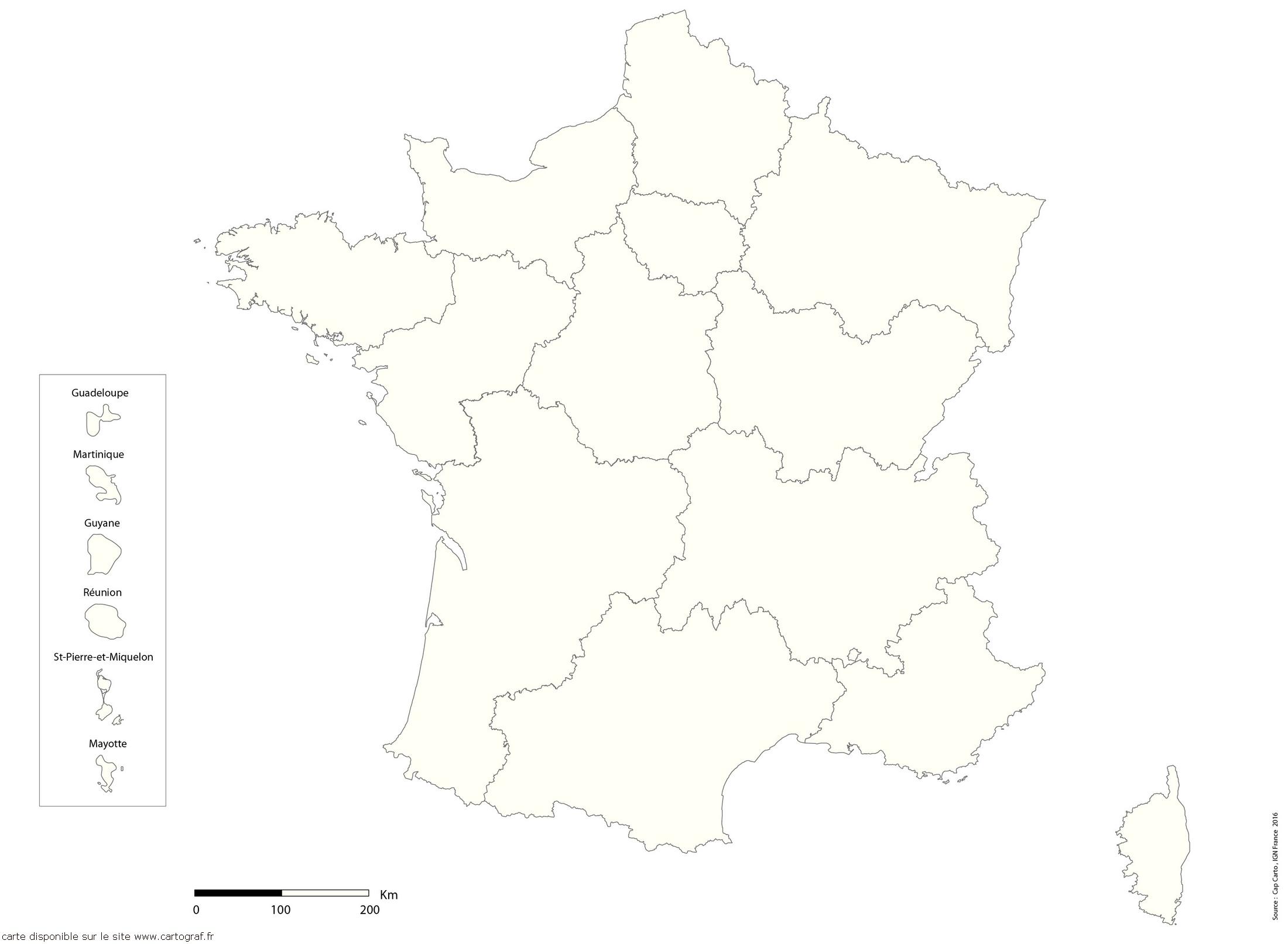 Top Five Carte De France Vierge Avec Nouvelles Régions pour Carte Région France Vierge