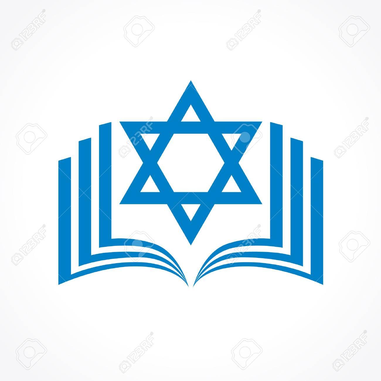 Torah En Ligne Ou Tanakh Logo Vectoriel. Ouvrir Le Livre Avec David Clipart  Étoile Icône. Logiciels Ou De L'application De Téléphone Éducatif Signe tout Logiciel Éducatif En Ligne