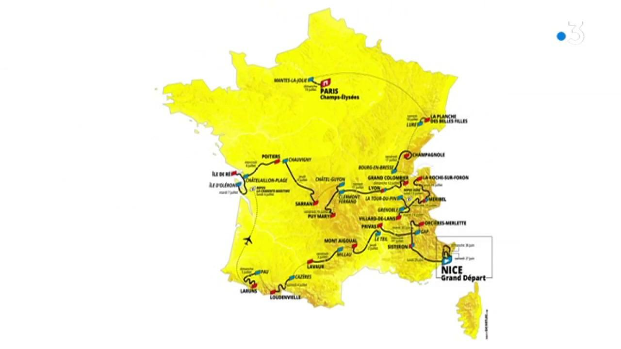 Tour De France 2020 : Carte Animée Du Parcours Dont 3 Jours En Occitanie encequiconcerne Mappe De France