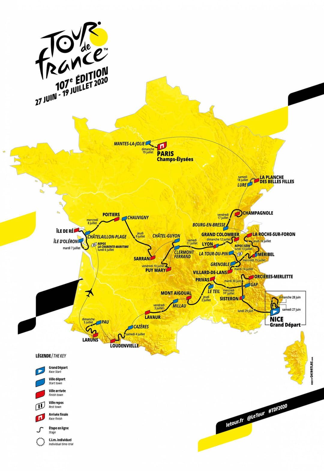 Tour De France 2020 : Un Parcours Pour Pinot ? La Carte Et concernant Grande Carte De France À Imprimer