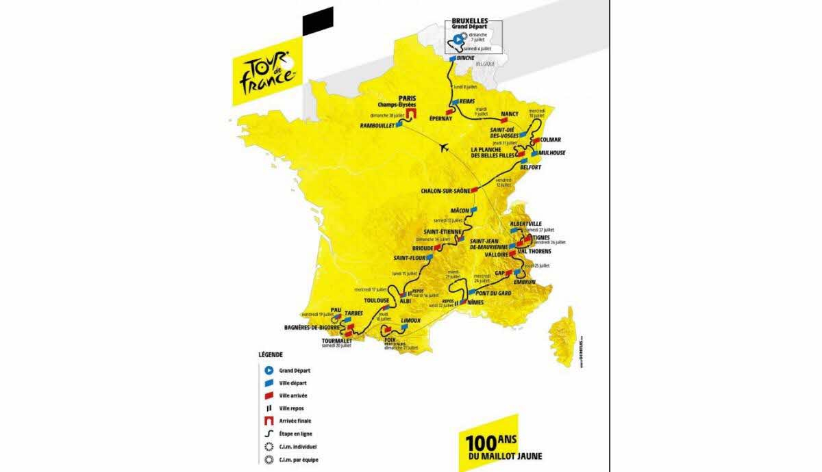 Tour De France | Tour De France 2019 : Découvrez Les Cartes destiné Grande Carte De France À Imprimer