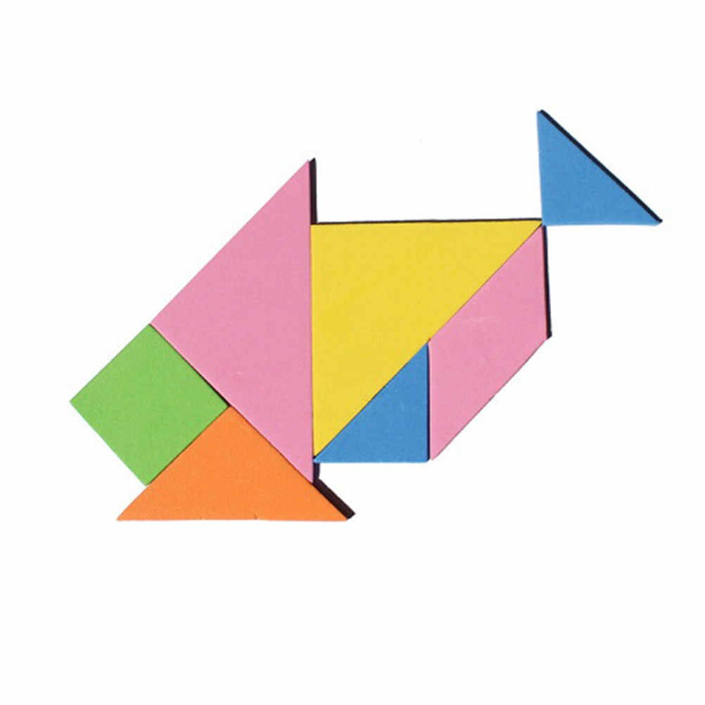 Toyzhijia 9*9*0.4Cm En Bois Tangram 7 Pièces Puzzle Carré Coloré Iq Jeu  Cerveau Teaser Jouets Éducatifs Intelligents encequiconcerne Tangram Carré