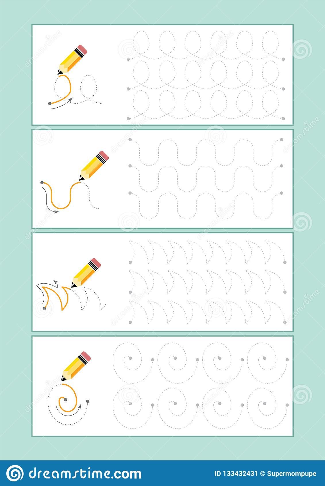 Tracing Lines Vector For Preschool Or Kindergarten And à Mot Pour Enfant