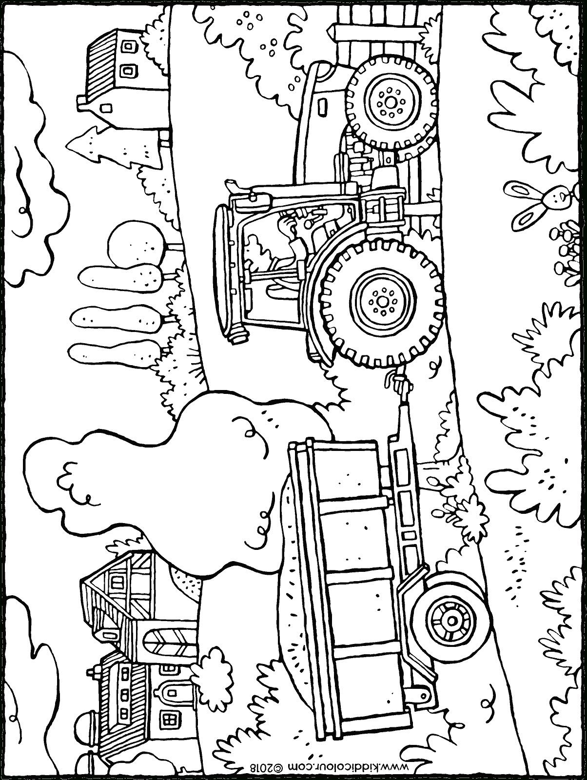Tracteur Avec Remorque - Kiddicoloriage pour Dessin De Tracteur À Colorier