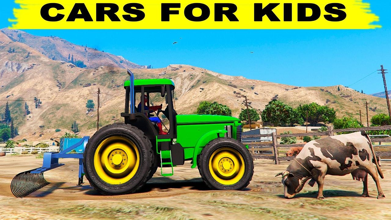 Tracteur Vert Voitures De Dessin Animé Avec Spiderman Pour Les Enfants Et  Les Comptines avec Dessin Animé De Tracteur John Deere