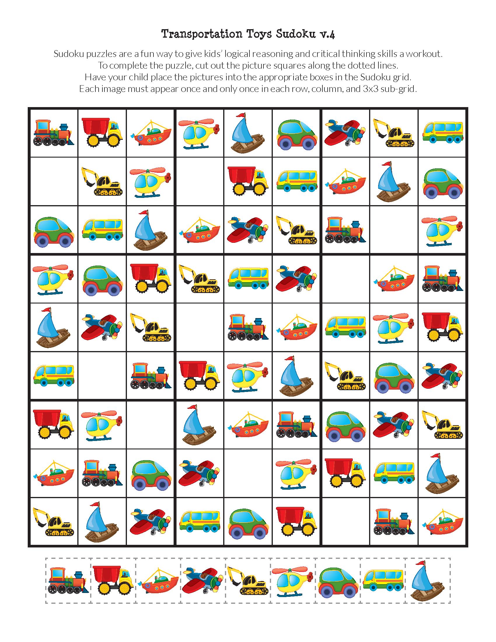 Transportation Toys Sudoku Puzzles   Matematik, Okul Öncesi concernant Sudoku Pour Enfant