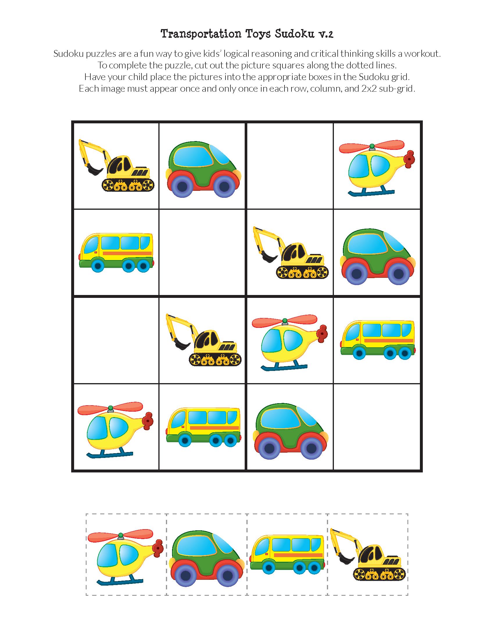 Transportation Toys Sudoku Puzzles | Sudoku Puzzles encequiconcerne Sudoku Junior À Imprimer