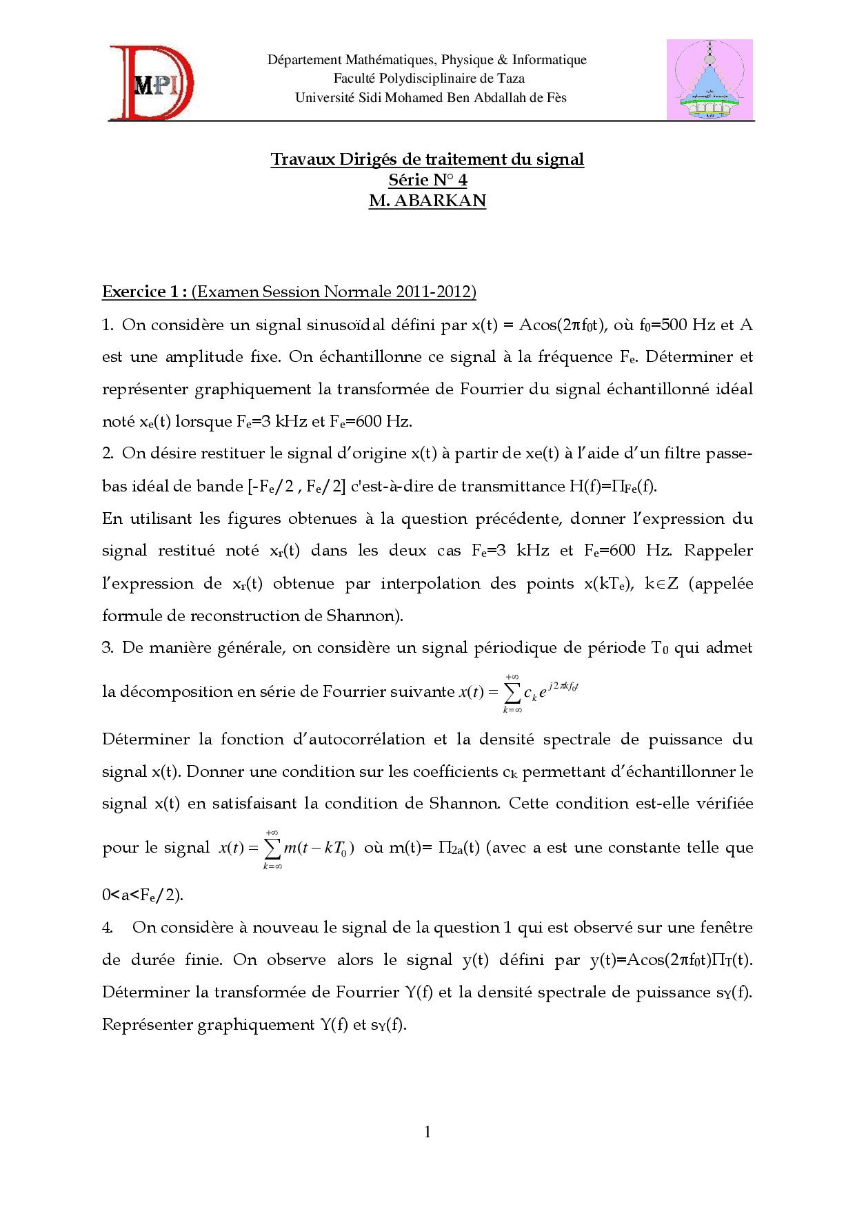 Travaux Dirigés De Traitement Du Signal 4 - Docsity avec Puissance 4 A Deux