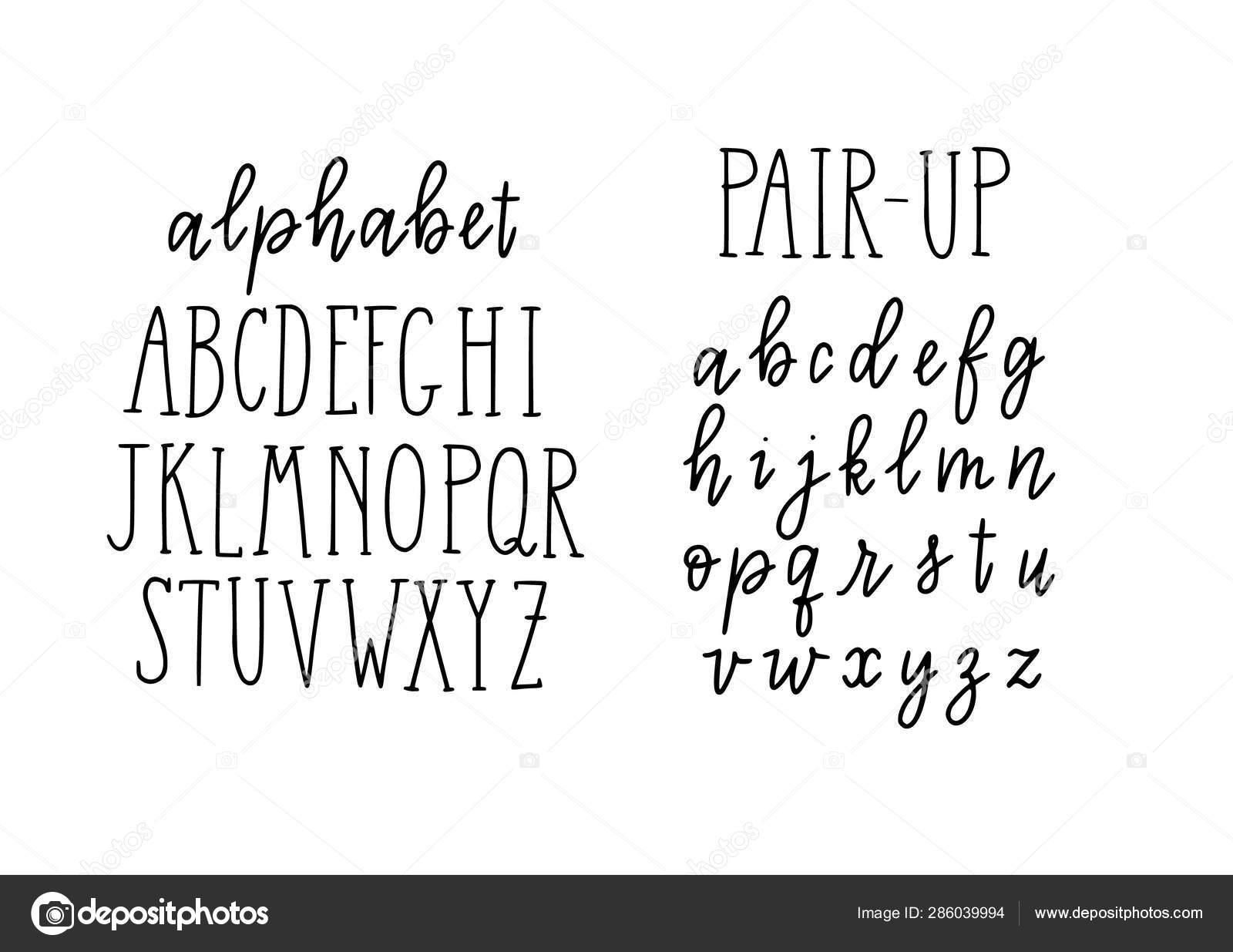 Trendy Alphabet Lettering. Block Capital Letters And Script destiné Alphabet En Script