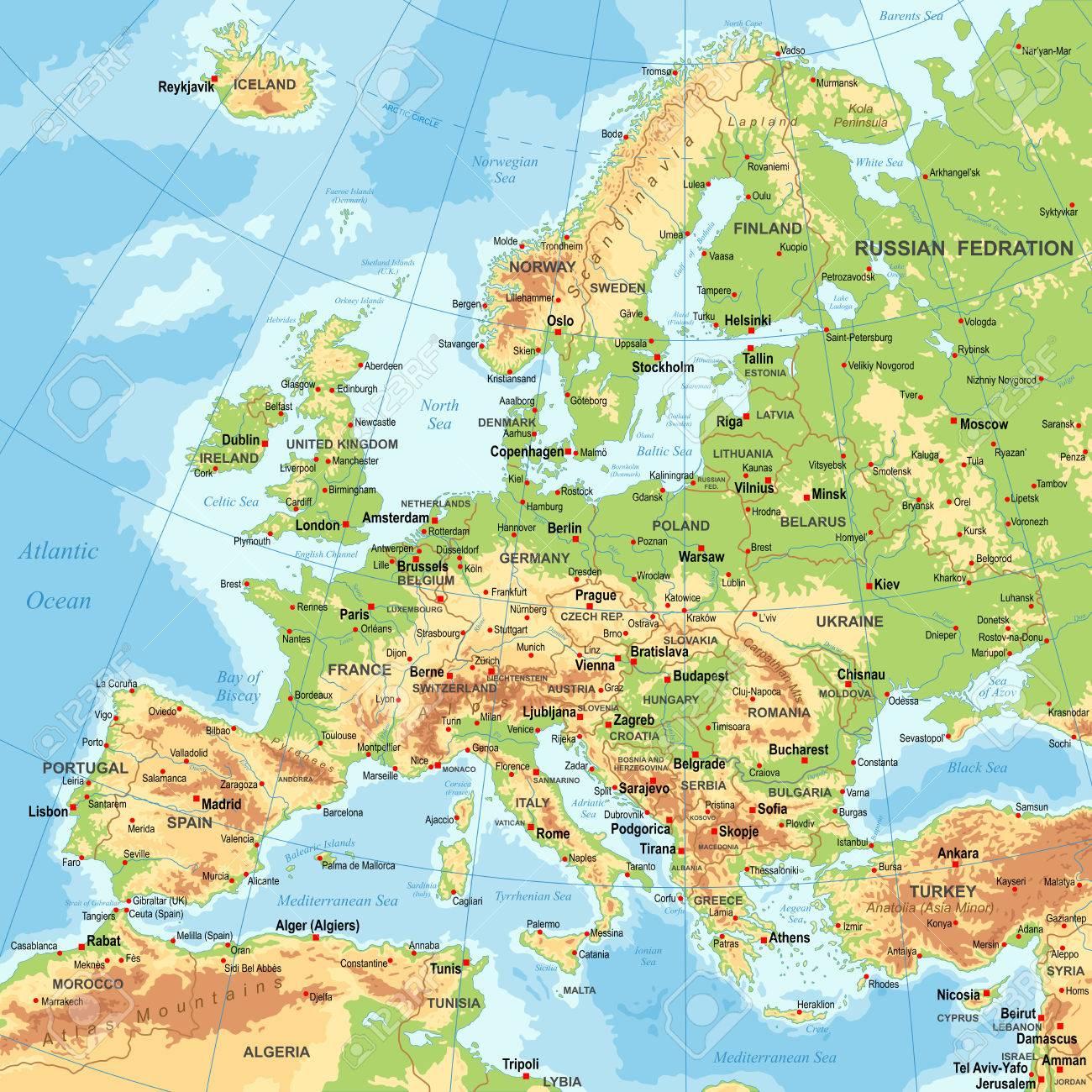 Très Détaillé De Couleur Illustration Vectorielle De L'europe Carte  -Borders, Pays Et Villes - Illustration pour Carte De L Europe Détaillée