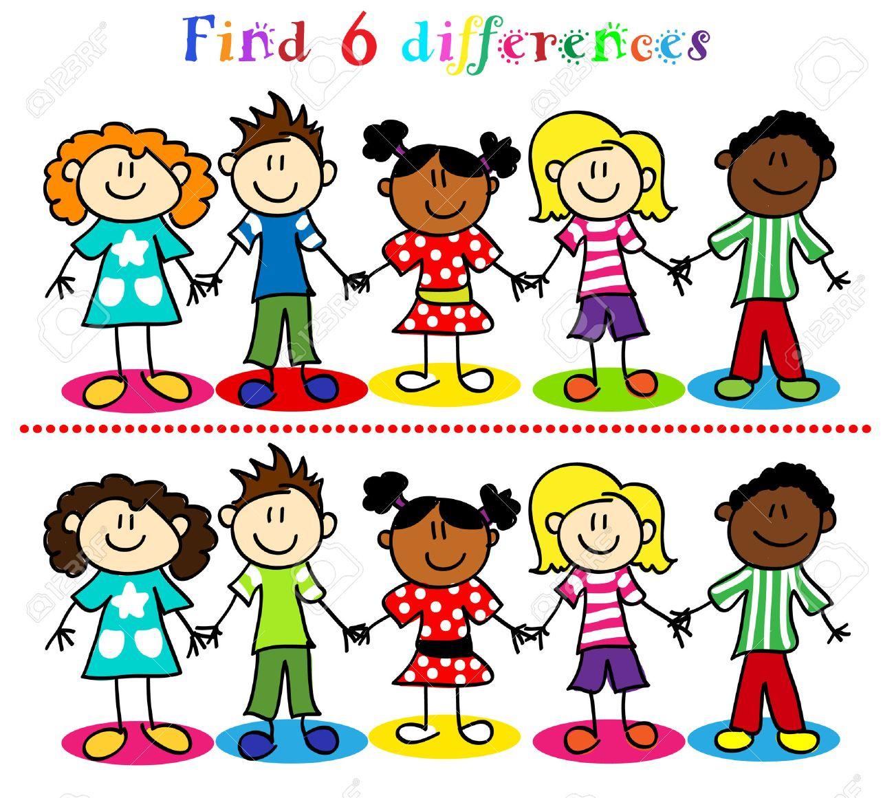 Trouver 6 Jeu De Différence Ou Un Puzzle Visuel: Bâton Chiffre Enfants De  Bande Dessinée, Les Petits Garçons Et Les Filles, De La Diversité Ethnique. pour Trouver La Différence
