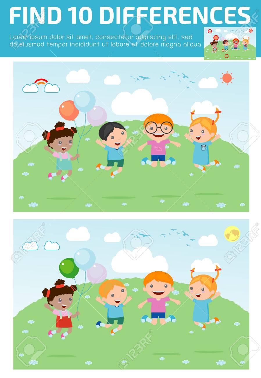 Trouver Des Différences, Jeu Pour Les Enfants, Trouver Des Différences, Des  Jeux De Cerveau, Les Enfants, Jeu Éducatif Pour Les Enfants D'âge avec Jeux De Différence