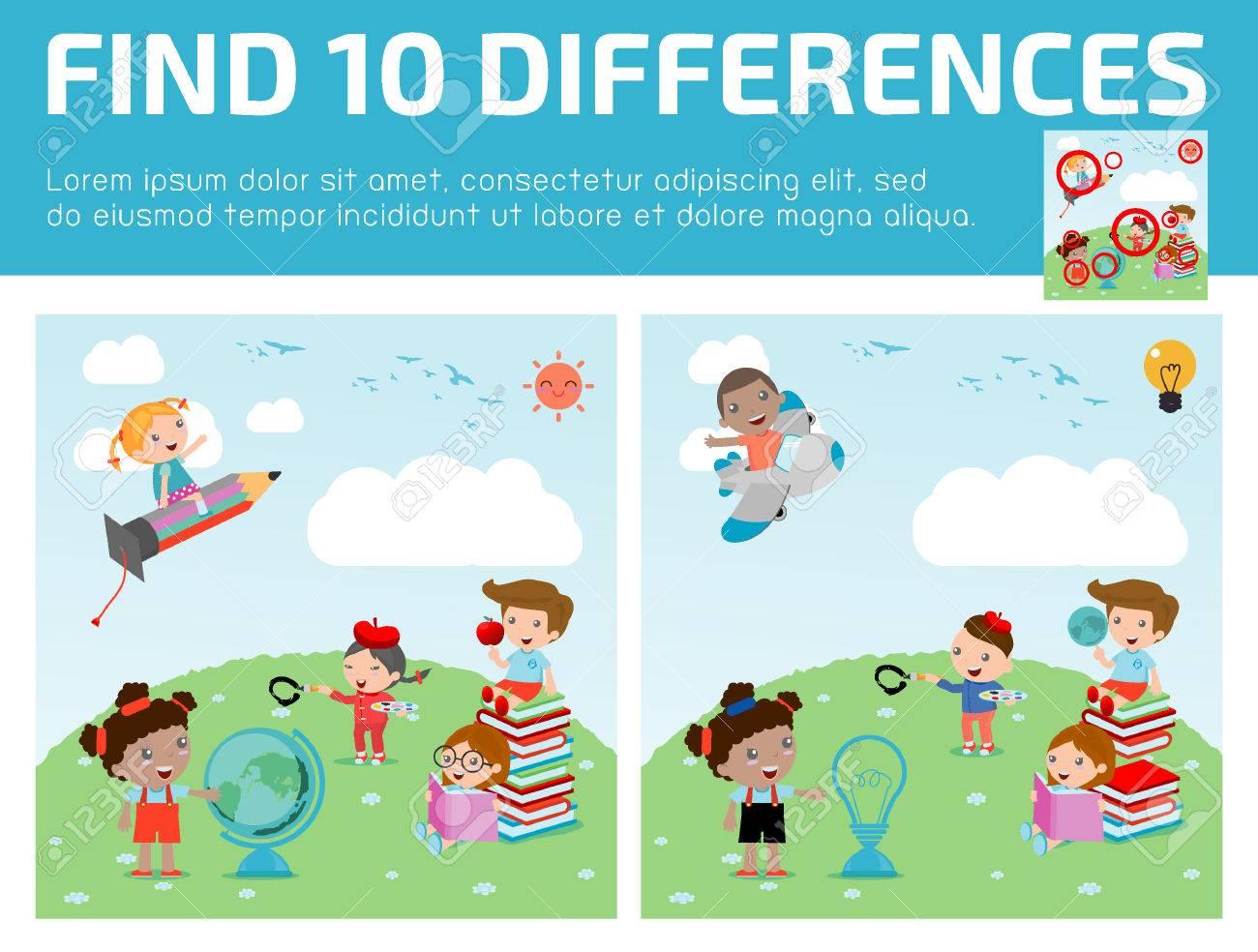 Trouver Des Différences, Jeux Pour Les Enfants, Trouver Des Différences,  Des Jeux De Cerveau, Les Enfants, Jeu Éducatif Pour Les Enfants D'âge à Jeux De Différence
