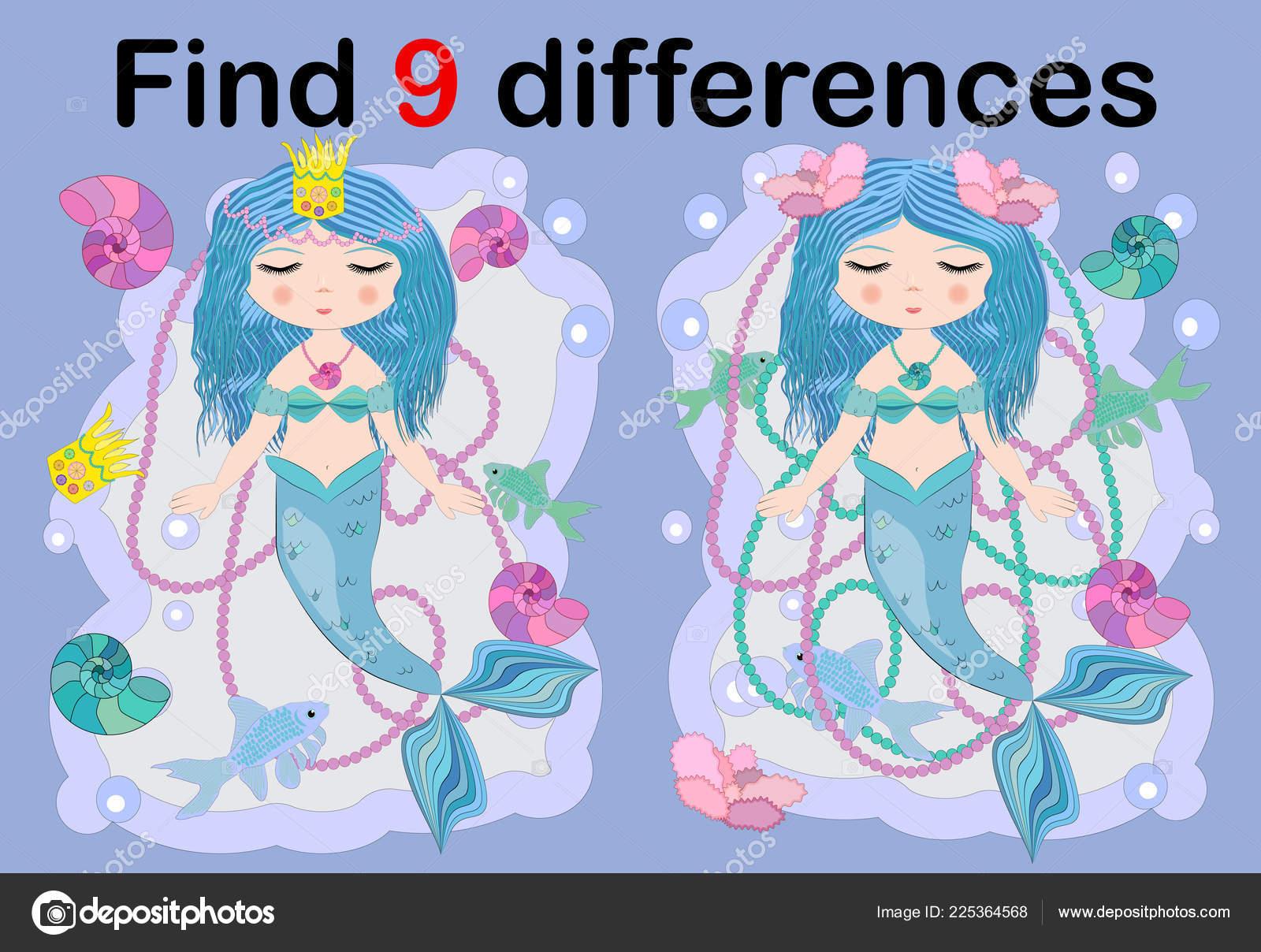 Trouver Différence Illustration Deux Avec Sirène Mer à Trouver La Différence