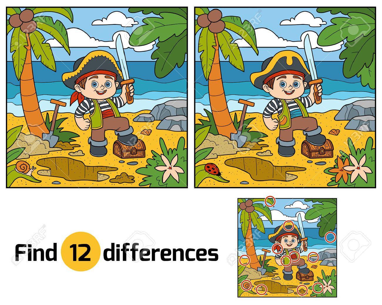 Trouver Les Différences, L'éducation Jeu Pour Les Enfants. Pirate Et Trésor  Sur Une Île Tropicale encequiconcerne Trouver Les Difference