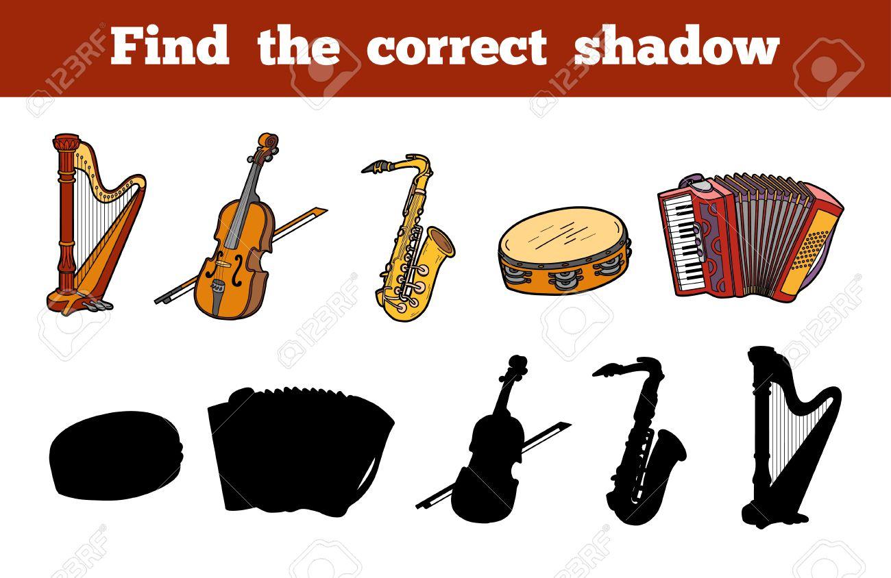 Trouver L'ombre Correcte, L'éducation Jeux Pour Les Enfants (Instruments De  Musique) à Jeu Des Instruments De Musique
