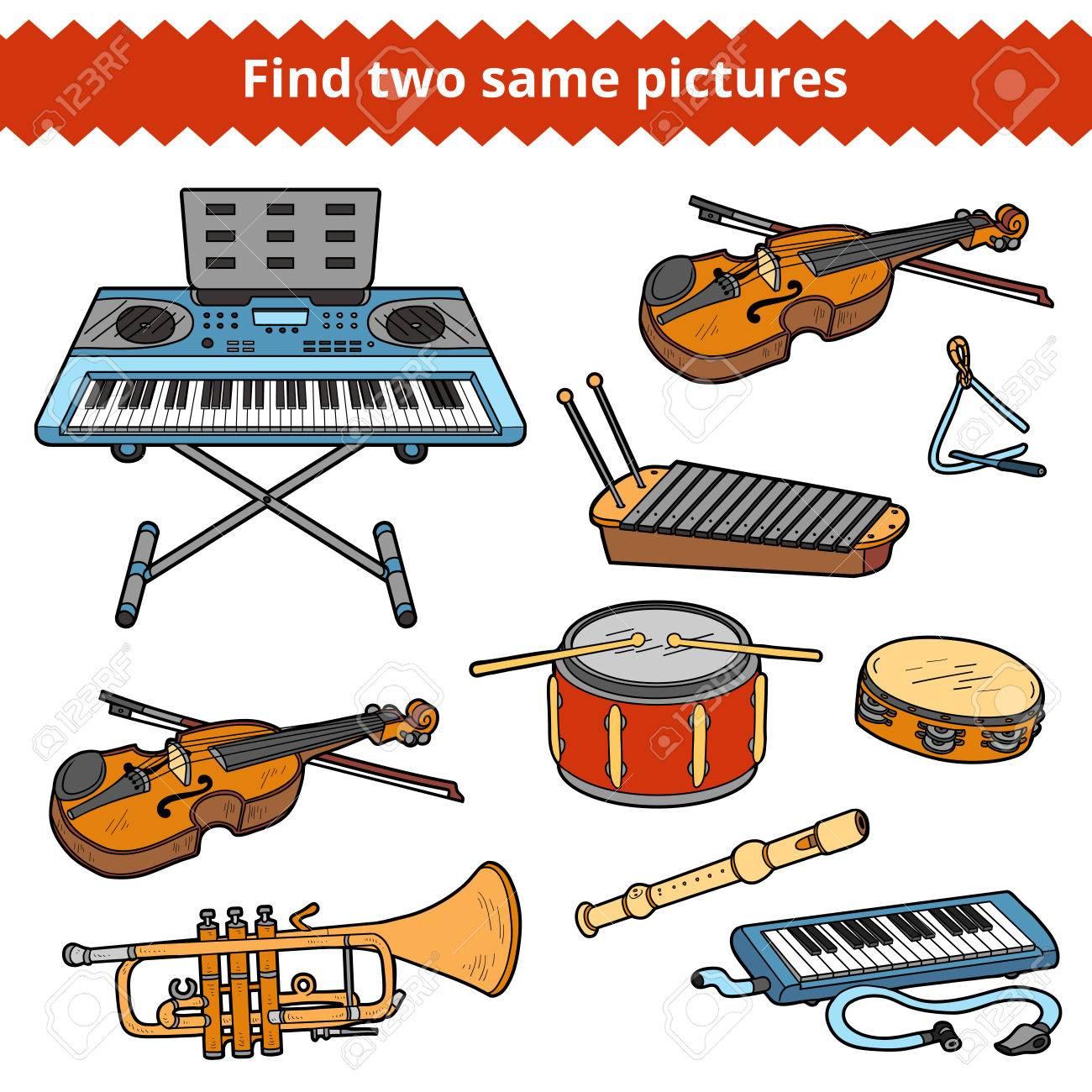 Trouvez Deux Mêmes Images, Jeu Éducatif Pour Les Enfants. Vector Set  D'instruments De Musique destiné Jeu D Instruments