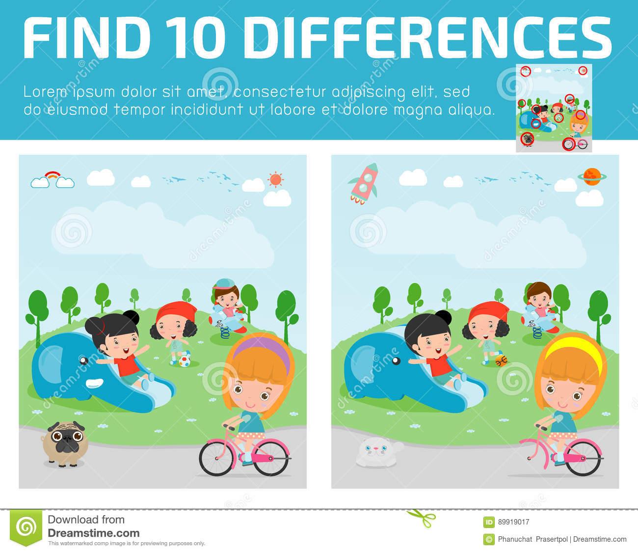 Trouvez Les Différences, Jeu Pour Des Enfants, Différences tout Jeux De Différence