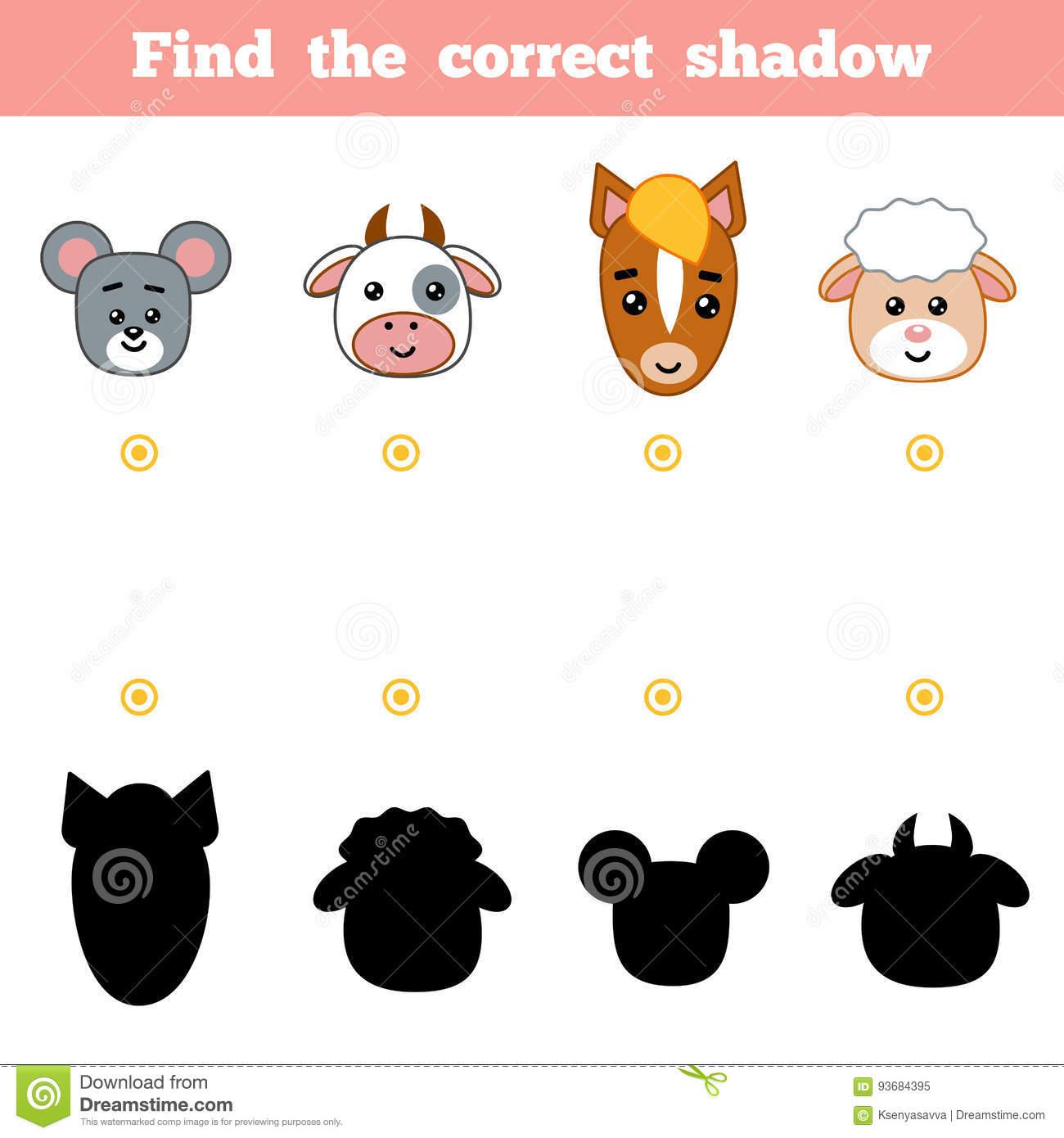 Trouvez L'ombre Correcte, Jeu D'éducation Pour Des Enfants concernant Jeux D Animaux De La Ferme