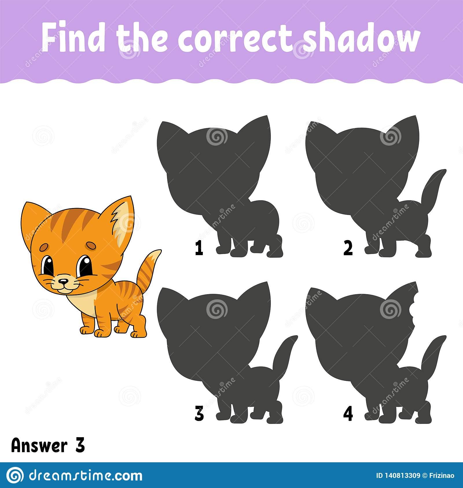 Trouvez L'ombre Correcte Tracez Une Ligne Fiche De Travail tout Puzzle En Ligne Maternelle