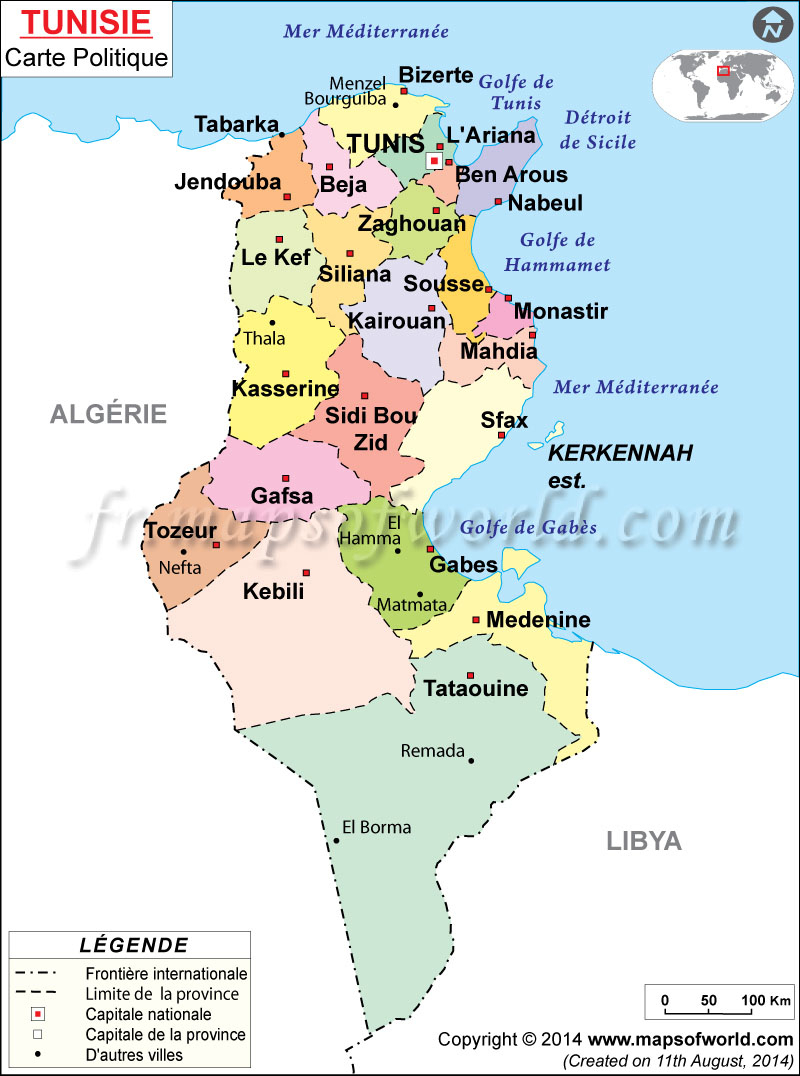 Tunisie Carte encequiconcerne Carte Avec Departement