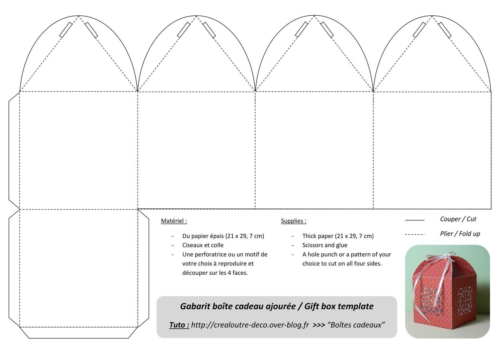 Tuto : Boîte Cadeau Ajourée - Crealoutre concernant Patron Pour Boite En Carton