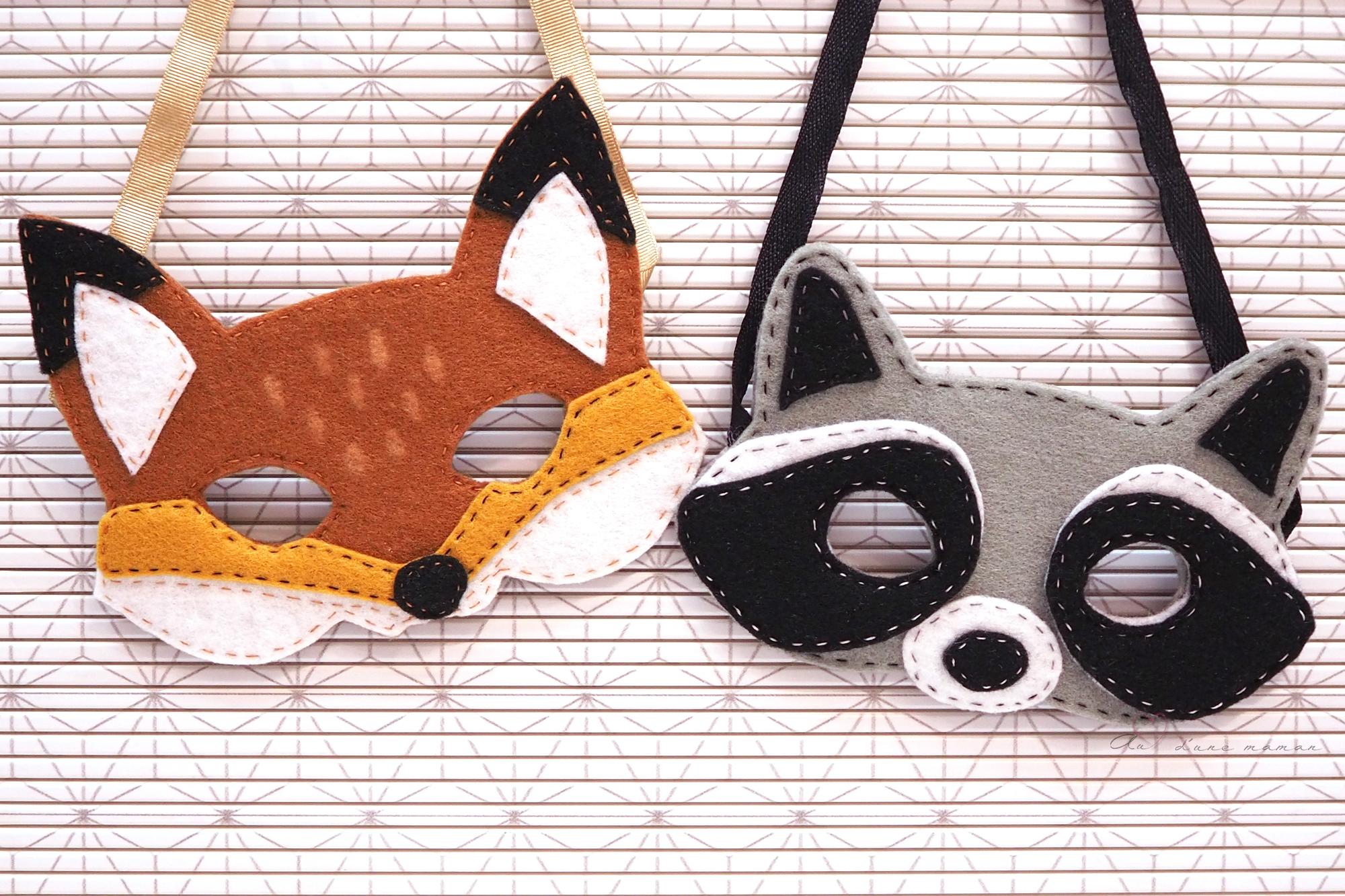 Tuto - Des Masques D'animaux En Feutrine - Au Coeur D'une Maman concernant Masques Animaux À Imprimer